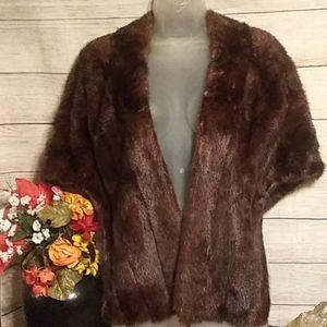 Brenner Furs dark brown mink shawl